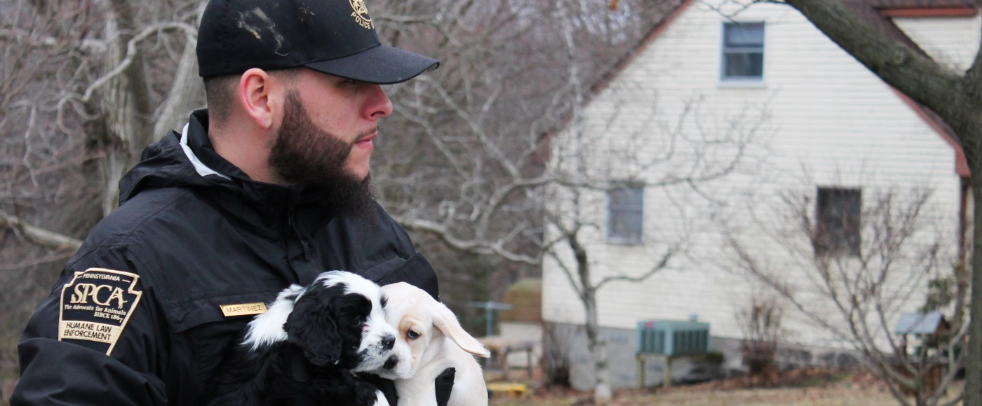 Officer Martinez carries out two puppies from neglect