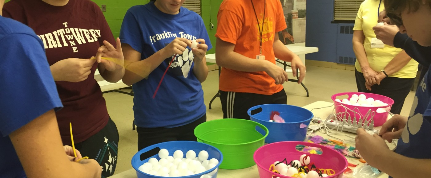 Service Learning group makes toys for animals