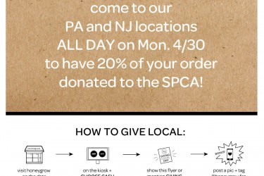 honeygrow giving local for PSPCA